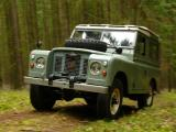 A Land-Rover S2A climbing a forest lane