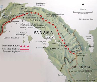 Mapka trasy Trans-Darien Expedition