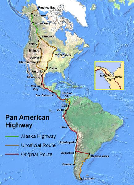 Mapa panamerické dálnice - zdroj: Wikipedia