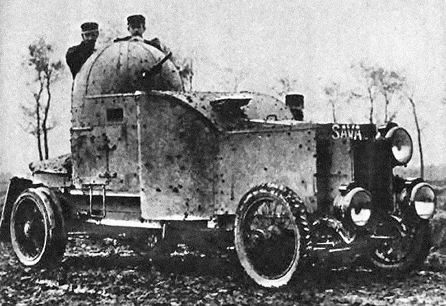Obrněný automobil Minerva vyrobený v roce 1914 pro belgickou armádu